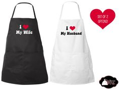 I HEART my WIFE / HUSBAND  Custom Aprons  Many by TheNewMrsShoppe, $25.99