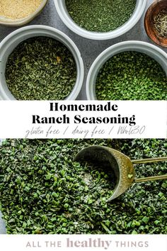Easy homemade ranch seasoning made without any weird ingredients or additives. This flavorful blend of spices and herbs will give you that perfect ranch flavor without any dairy. It is perfect for seasoning fries or as a way to add some additional flavor to chicken or fish! Homemade Ranch Seasoning, Easy Whole 30 Recipes, Spices And Herbs, Healthy, Health