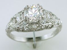 Vintage Antique Certified 1.24ct Diamond Platinum Art Deco Engagement Ring #SolitairewithAccents