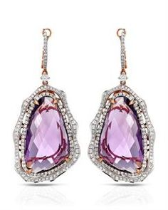 MICHAEL CHRISTOFF Brand New Dangle Earrings With 39.47ctw Precious Stones - Genuine Amethysts and  Clean Diamonds  14K Rose Gold. Total item weight 18.0g  Length 51mm - Certificate Available.
