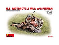The MiniArt 1/35 US Motorcycle WLA & Rifleman Model Kit from the plastic figure model kits range accurately recreates a real life US soldier and motorbike from World War II.