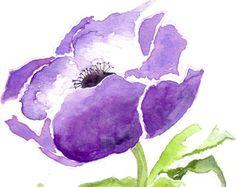 Watercolor Card Watercolour Greeting Card Purple Anemone Floral Notecard Anemone Artwork, Nature Blank Notecard