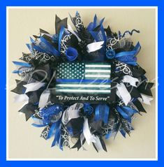 """To Protect And Serve"" Blue, Black and White thin Blue line wreath on Deco… Wreath Crafts, Diy Wreath, Burlap Wreath, Wreath Ideas, Police Crafts, Wreath Hanger, Patriotic Wreath, July Crafts, Thin Blue Lines"