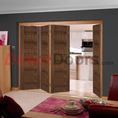 As usual....Free delivery is offered on this Nuvu Roomfold prefinished Monaco Walnut folding door.