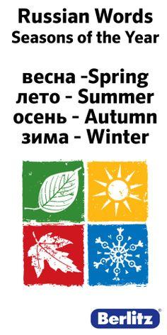 Russian Words Vesna-Spring Leta-Summer Osen-Autumn Zima-Winter