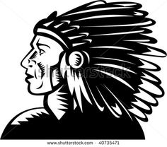 illustration of a native american indian chief with headdress #NativeAmerican #woodcut #illustration