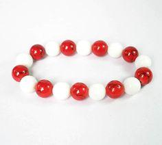 Bicolors Red White Chinese Jade Gemstone Buddhist Prayer Mala Beads Bracelet 110