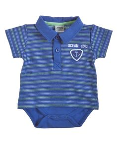 Niebieskie body z krótkim rękawem w marynarskim stylu 36 PLN  #limango #sale #body #dzieci #ubranka #wyprzedaż