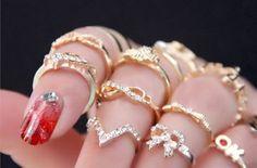 Faux Flower Leave Heart Shape mid Finger Rings