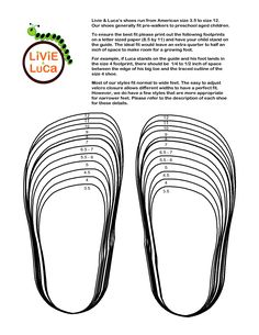Youth Shoe Size Chart | Livie _ Luca's shoes run from American size ...