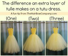 The difference in using one, two, and three layers of tulle on a tutu dress. If you're just learning how to make a tutu for a costume, check out this blog. They have tons of advice and tutorials!