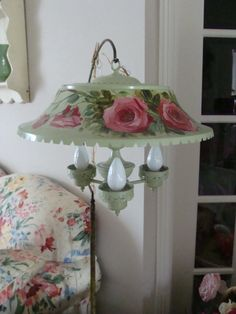 Roses painted on 1930s vintage hanging lamp by Art2Found on Etsy, $200.00