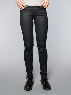 Nudie Jeans Co's first fit cut more specifically for women! KILLING IT with the waxed black and new lower price point! $165 Skinny Lin - Back in Black in stock now!