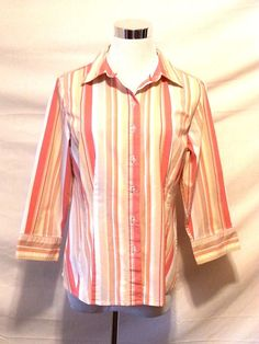 Apostrophe Stretch Women's Shirt Size M Multi Color Striped Button Down  #ApostropheStretch #Blouse #Casual