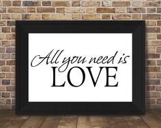 All you need is love Printed Wall Art romantic home decor poster by JeanHomePrint on Etsy