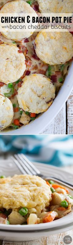 What can be better than a creamy chicken and bacon pot pie, topped with bacon cheddar biscuits? It is said that bacon makes everything better, and this Chicken and Bacon Pot Pie with Bacon Cheddar Biscuits is proof that it is true!: