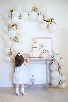 ❤️ the ballon/floral garland and the colors used on the table and backdrop 15th Birthday, Baby Birthday, 1st Birthday Parties, Birthday Celebration, Princess Birthday, Balloon Decorations, Wedding Decorations, Baby Shower, Bridal Shower