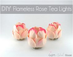 DIY Project: Flameless Rose Tea Lights I love a pretty DIY project! Let me show you this beautifully easy project called DIY Flameless Rose Tea Lights. They are made of fabric rose petals, a flameless tea light,. Cute Crafts, Diy Crafts, Diy Rose, Glue Gun Crafts, Silk Rose Petals, Rose Centerpieces, Plastic Spoons, Plastic Silverware, Plastic Bottles