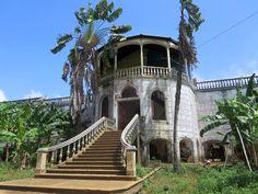 The ruins of the former hospital (1928) of Roça Agua Izé, an agricultural plantation of the east coast of Sao Tome Island, São Tomé and Príncipe.