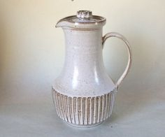 Poole Pottery New Stoneware coffee pot in Oatmeal. The New Stoneware collection… Alan White, Stoneware, Tea Pots, Pottery, Guys, Coffee, Hampshire Uk, Handmade, Ceramica