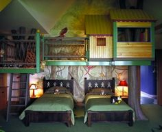 Tree-house? In the bedroom? Yes please! Very neat way to incorporate a play area without taking space away from the floor!