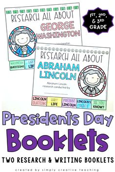 Looking for an engaging and interactive research activity for Presidents Day? These 2 booklets (one for Abraham Lincoln and one for George Washington) are perfect for teaching 1st, 2nd, and 3rd grade students. Students use these to record all of the facts and information- perfect for young readers and writers! Each booklet has 5 tabs, so students can quickly cut them out and have it stapled into a booklet. An excellent activity to teach informative texts. Click here to get your copy!