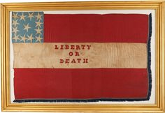 """""""Liberty Or Death"""" Confederate Flag captured by Pvt. William Pvt. William Goodman, Co. I, Fifth Michigan Cavalry when his Custer Cavalry Brigade unit overran a Confederate baggage train at Jack's Shop, Virginia at the time Confederate General J. E. B. Stuart was there protecting Lee's retreat from Gettysburg. Goodman was captured at James City, Virginia on October 11, 1863, and died a prisoner of war at Andersonville, Georgia on July 24, 1864."""