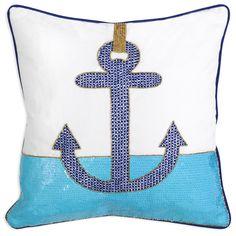 Modern Throw Pillow   Côte d'Azur Anchor Beaded Linen Throw Pillow   Jonathan Adler