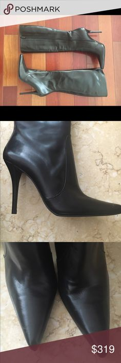 Stuart weitzman New with box black leather with zipper on side perfect condition soft black leather size 8 Stuart Weitzman Shoes Heeled Boots