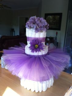 Purple Diaper Cakes | Purple tutu diaper cake