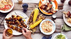 What 6 popular diets look like during BBQ season, like gluten-free, vegan, Weight Watchers, Mediterranean Diet, Paleo Diet, and the DASH diet. #healthyrecipes #healthybarbecue #everydayhealth | everydayhealth.com