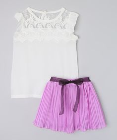 Look at this Mommy's Little Peanut White Chiffon Top & Purple Accordion Skirt - Toddler & Girls on #zulily today!