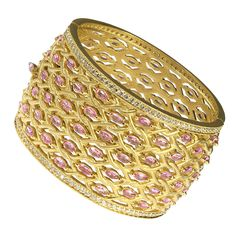 Pink Sapphire Diamond Gold Bangle Bracelet | From a unique collection of vintage bangles at https://www.1stdibs.com/jewelry/bracelets/bangles/