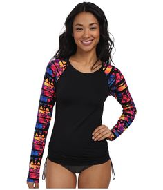 b08e1c4b877789 Find the lowest price on the TYR Santa Rosa Long Sleeve Swim Shirt  (Black Multi) Women s Swimwear TYR. We offer the best selection of womens  swimwear and ...