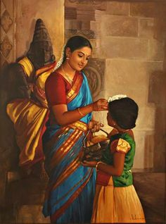 Paintings on Pinterest | Indian Paintings, Raja Ravi Varma and Tamil Girls www.pinterest.com236 × 318Buscar por imagen Mother adjusting Jasmine flower on her daughter's head - Painting by S. Elayaraja