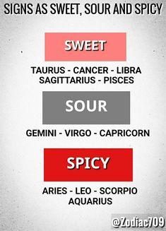 sweet, sour, spicy, zodiac signs, aries, taurus, gemini, cancer, leo, virgo, libra, scorpio, sagittarius, capricorn, aquarius, pisces