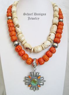 Schaef Designs Large Inlaid Coral Conch Layering Necklace | New Mexico