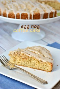 Eggnog Coffee Cake: recipe makes two delicious cakes, each topped with a crumbly streusel and eggnog glaze. Perfect for Christmas morning!