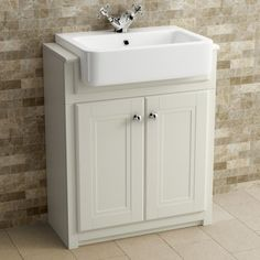 667mm Cambridge Ivory Floorstanding Basin Vanity Unit