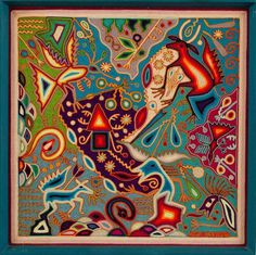 Emilio de la Cruz Mexican Folk Art Yarn Painting Emilio de la Cruz