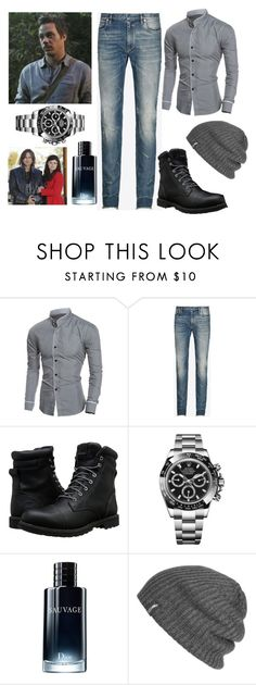 """""""Neal's OOTD"""" by miaagustus ❤ liked on Polyvore featuring Once Upon a Time, Maison Margiela, Timberland, Rolex, Christian Dior, Outdoor Research, men's fashion and menswear"""