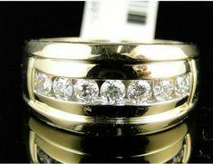 Men's Diamond Ring Ct Yellow Gold Over Pinky Wedding Engagement Band Ring Mens Diamond Pinky Rings, Mens Diamond Wedding Bands, Sapphire Wedding, Wedding Ring Bands, Band Engagement Ring, Wedding Engagement, Band Rings, Round Diamonds, Rings For Men