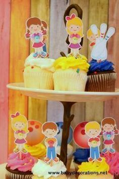 Bowling Party Cupcake Toppers Set 12 - http://www.babydecorations.net/bowling-party-cupcake-toppers-set-12.html