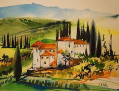 Olivia Quintin - Peindre en Toscane / Painting in Tuscany Watercolor Projects, Watercolor Techniques, Watercolor Landscape, Watercolour Painting, Landscape Art, Landscape Paintings, Tuscan Art, Tuscany Landscape, Mini Paintings
