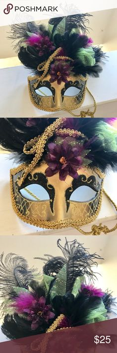Purple Gold Venetian Mardi Gras Masquerade Mask Gorgeous handmade mask is a head turner! This beautiful headdress features purple flowers ,lime green sparkly tulle, gold ribbon and lush black feathering. The face of the mask is a stunning gold color adorned with intricate black detailing. This mask is perfect for a masquerade, Mardi Gras or a Halloween costume! Only worn once and is in excellent condition with no obvious signs of wear. Accessories