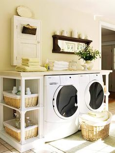 Gorgeous laundry room. Other ideas in the pin as well.