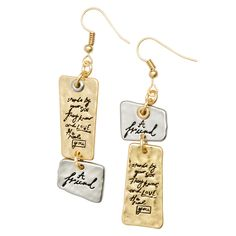 """A Friend Earrings:Show off your girl power when you wear this fun bracelet. Chunky hammered oval plate with hand embossed lettering on anitque bronze rolo chain. 8""""L. Handcrafted in the USA."""