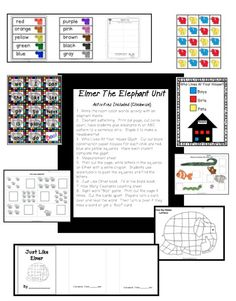 Elmer the Elephant Kindergarten Math and Literacy Activities