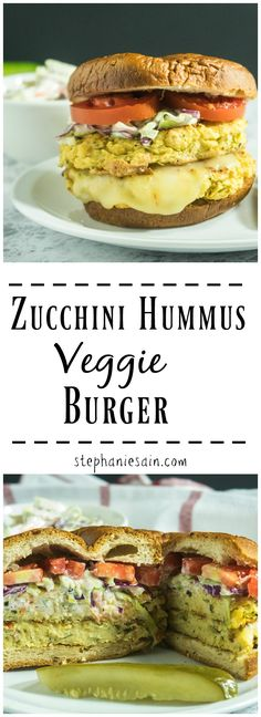 Zucchini Hummus Veggie Burgers are a tasty, healthier way to switch up burger night. Made with only a few ingredients for a super moist burger flavored with tahini and topped with all of your favorite toppings. Gluten Free, Vegetarian, Vegan option.
