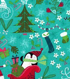 Holiday Inspirations™ Christmas Fabric-Santa & Penguins Blue
